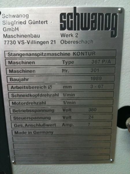 Fabrikat: Schwanog, Anspitz-u. Plandrehmaschine - Typ: 367 P/A
