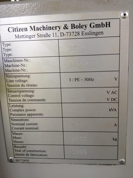 Fabrikat: Citizen/Boley - Typ: BC 42
